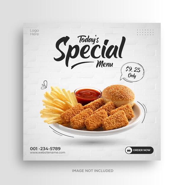 Modelo de banner de mídia social de restaurante de menu de comida Vetor Premium