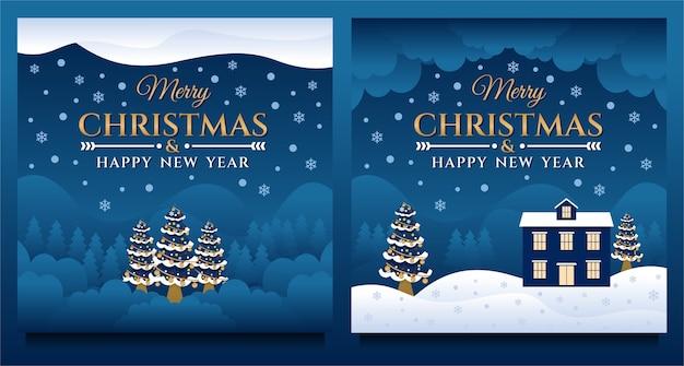 Modelo de banner de mídia social feliz natal e feliz ano novo com cenário natural à noite Vetor Premium