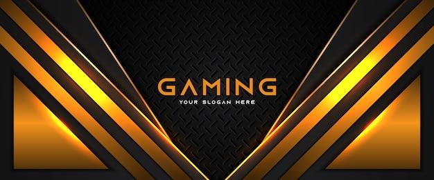 Modelo de banner de mídia social futurista de cabeçalho de jogo laranja e preto Vetor Premium