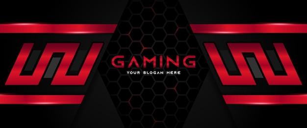 Modelo de banner de mídia social futurista em vermelho e preto para cabeçalho de jogo Vetor Premium