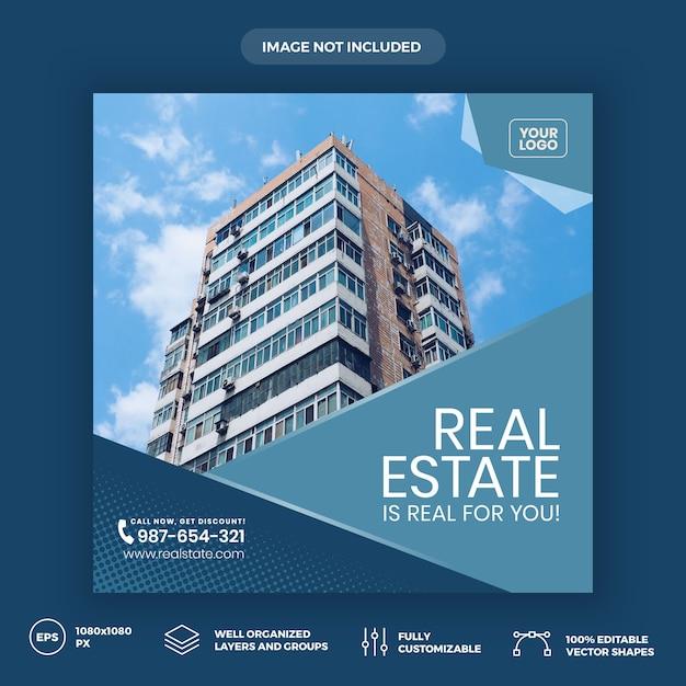 Modelo de banner de mídia social imobiliária Vetor Premium