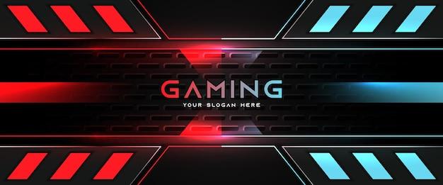 Modelo de banner de mídia social para cabeçalho de jogo futurista em vermelho claro e azul Vetor Premium