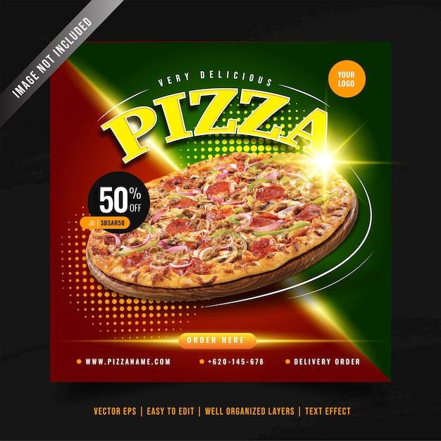 Modelo de banner de mídia social para promoção de menu de pizza elegante Vetor grátis