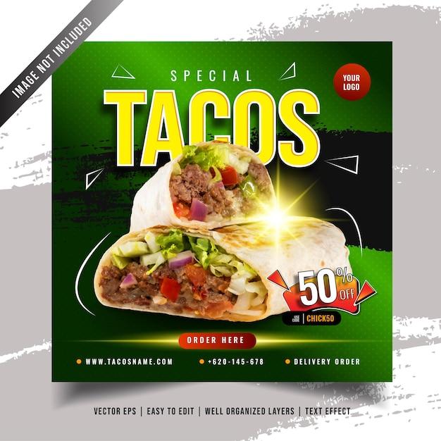 Modelo de banner de mídia social para promoção de menu de tacos mexicanos Vetor Premium