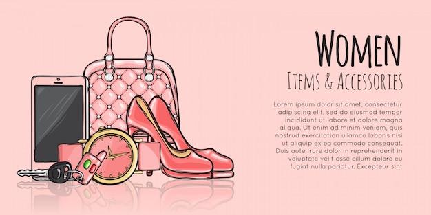 Modelo de banner de moda feminina itens e acessórios Vetor Premium