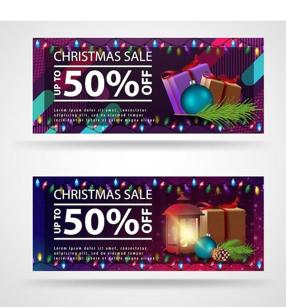 Modelo de banner de natal moderno, brilhante, com fundo brilhante Vetor Premium