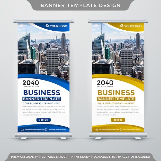 Modelo de banner de negócios com estilo minimalista Vetor Premium