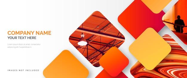 Modelo de banner de negócios elegante com formas vermelhas Vetor grátis