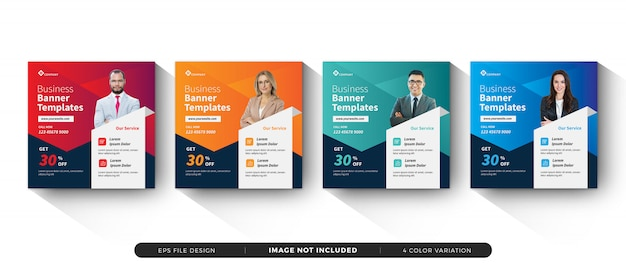 Modelo de banner de negócios mídias sociais Vetor Premium