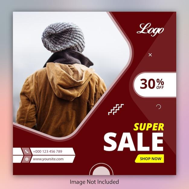 Modelo de banner de oferta de super venda para instagram Vetor Premium