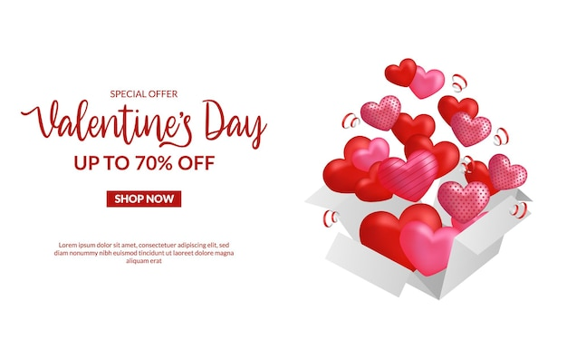 Modelo de banner de oferta de venda do dia dos namorados com coração pop-up Vetor Premium