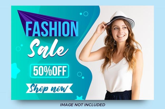 Modelo de banner de oferta de venda moda abstrata Vetor Premium