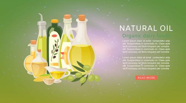 Modelo de banner de óleos orgânicos naturais com azeite de oliva extra virgem e garrafas de milho com azeitonas Vetor Premium