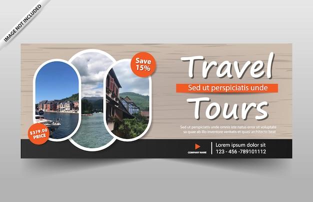 Modelo de banner de passeio turístico para site e comprovante Vetor Premium