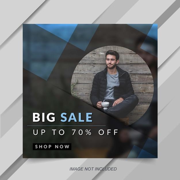 Modelo de banner de postagem de instagram de venda de moda azul moderna Vetor Premium