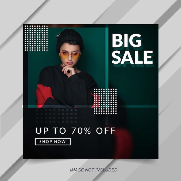 Modelo de banner de postagem de instagram de venda de moda moderna Vetor Premium