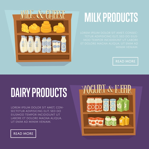 Modelo de banner de produtos lácteos com prateleiras de supermercados Vetor Premium