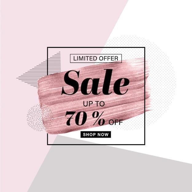 Modelo de banner de promoção com pincel ouro rosa mão desenhada Vetor Premium