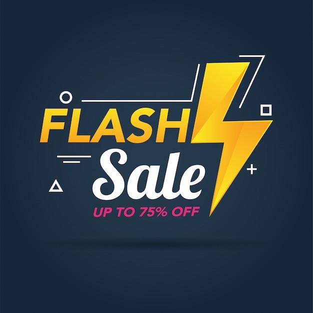 Modelo de banner de promoção de venda em flash Vetor Premium