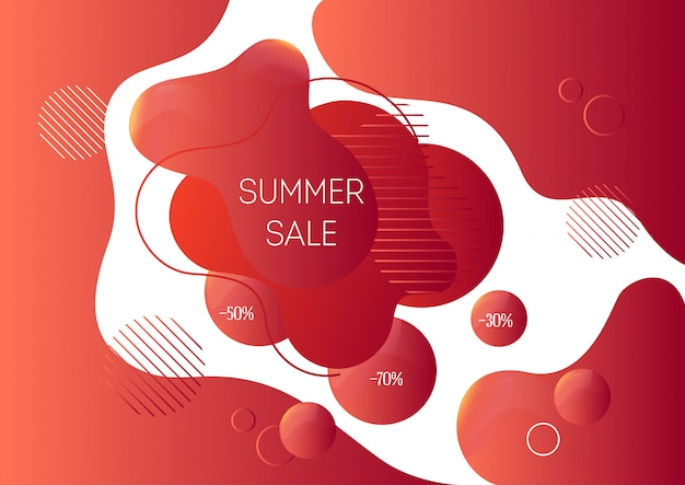 Modelo de banner de publicidade de venda de verão com formas líquidas abstratas na moda Vetor Premium