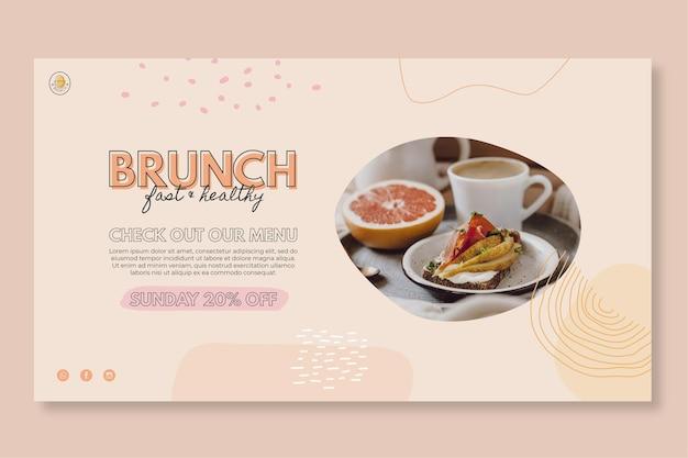 Modelo de banner de restaurante brunch Vetor grátis