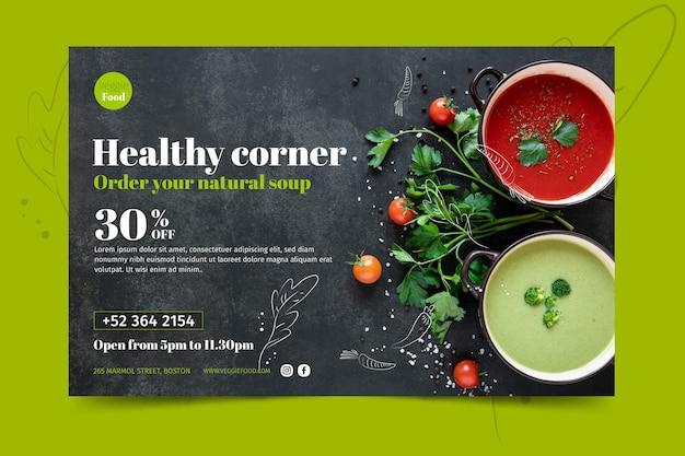 Modelo de banner de restaurante saudável Vetor Premium
