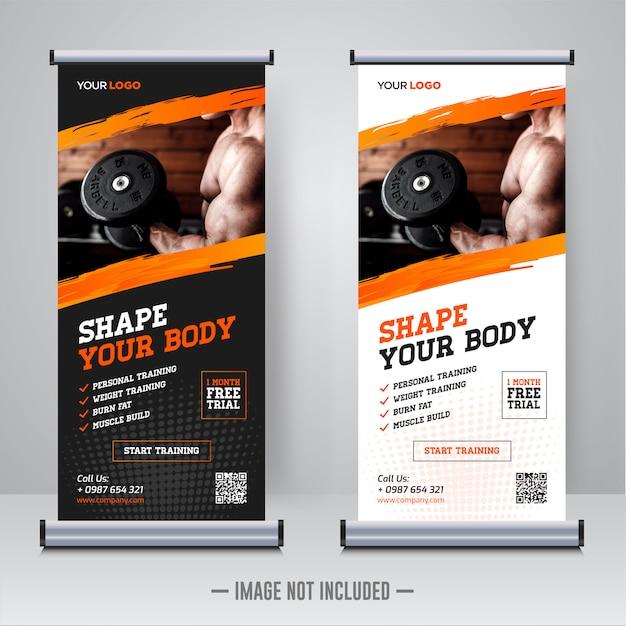 Modelo de banner de rollup de ginásio fitness Vetor Premium