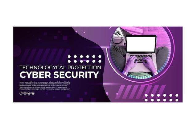 Modelo de banner de segurança cibernética Vetor grátis