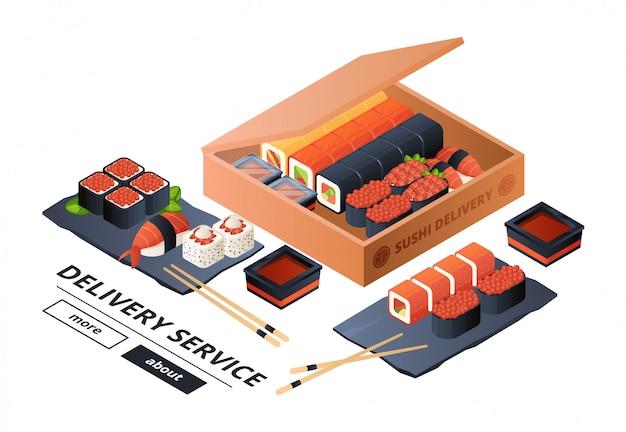 Modelo de banner de serviço de entrega de sushi. sushi isométrico, jantar asiático para duas ilustrações Vetor Premium