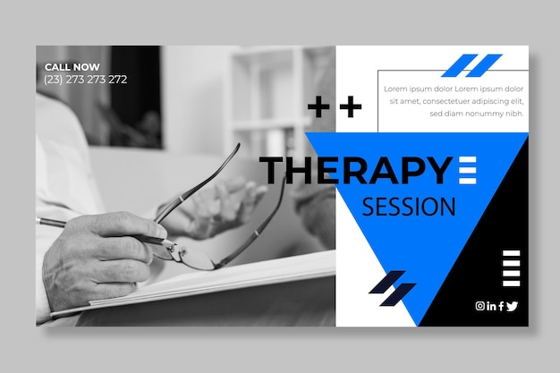 Modelo de banner de sessões de terapia Vetor Premium