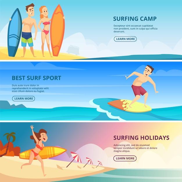 Modelo de banner de surf com ilustrações. pessoas surfistas Vetor Premium