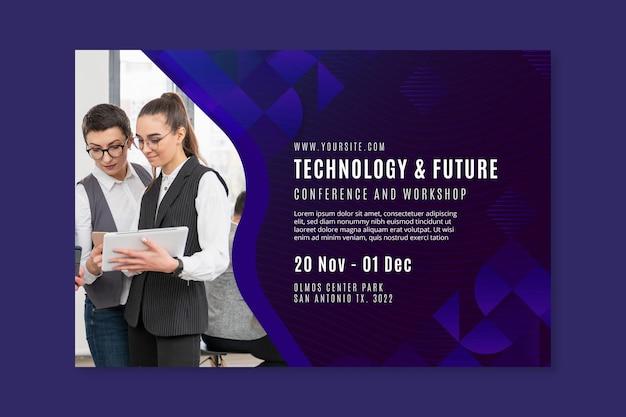 Modelo de banner de tecnologia e negócios futuros Vetor grátis