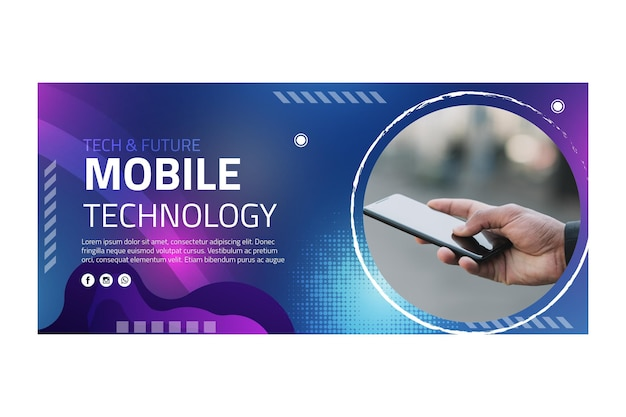 Modelo de banner de tecnologia móvel Vetor Premium