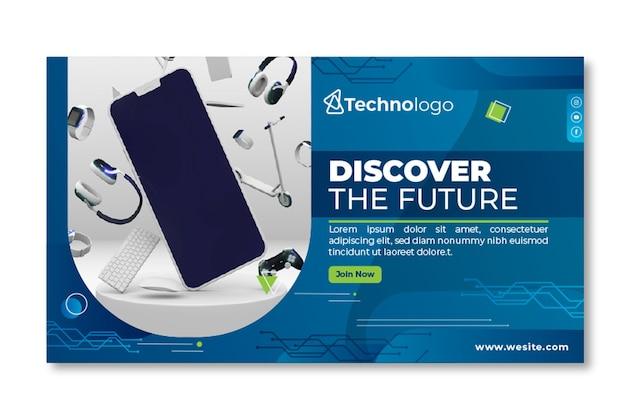Modelo de banner de tecnologia móvel Vetor grátis