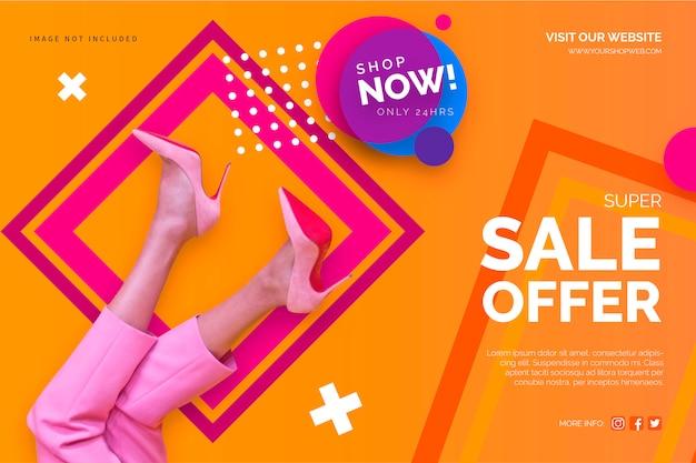 Modelo de banner de venda colorido Vetor grátis