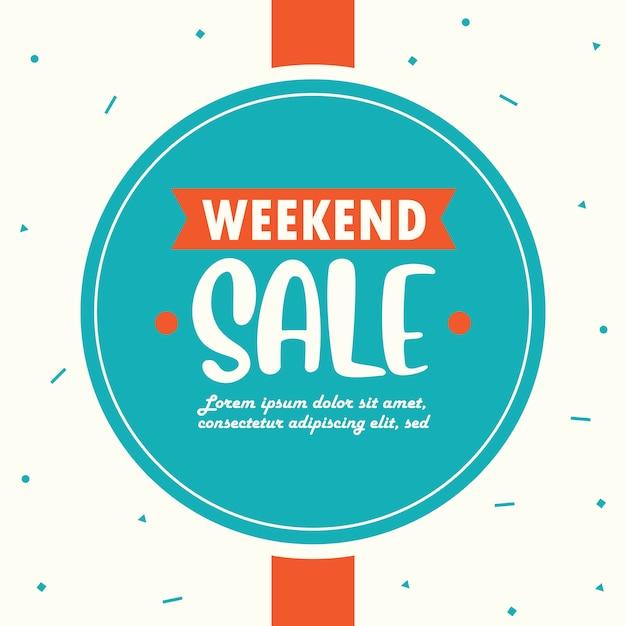 Modelo de banner de venda de fim de semana Vetor Premium