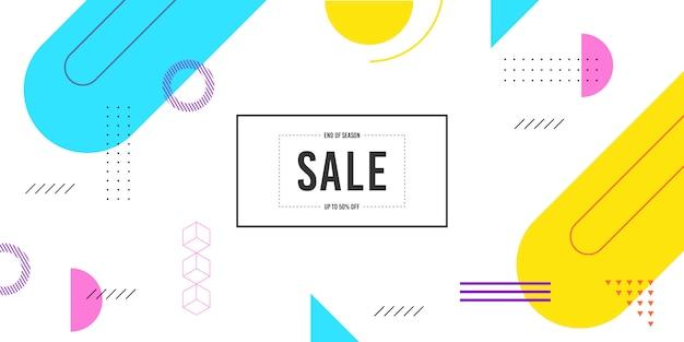 Modelo de banner de venda de memphis Vetor Premium