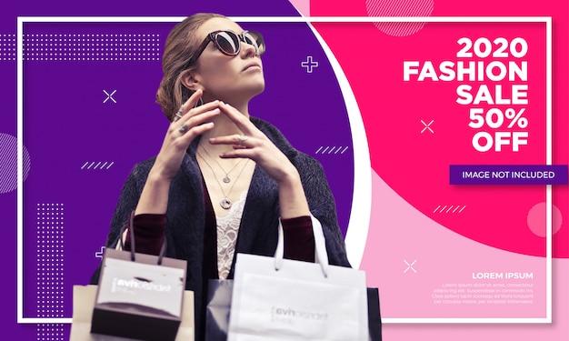 Modelo de banner de venda de moda promocional Vetor Premium