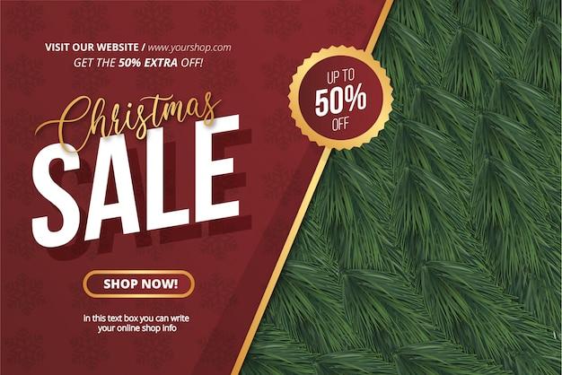 Modelo de banner de venda de natal realista Vetor grátis