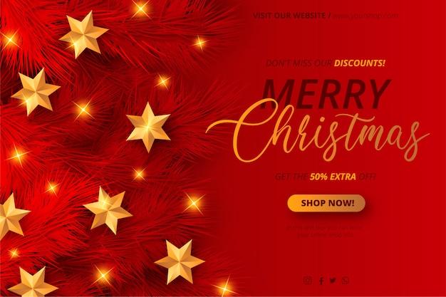 Modelo de banner de venda de natal vermelho e dourado Vetor grátis