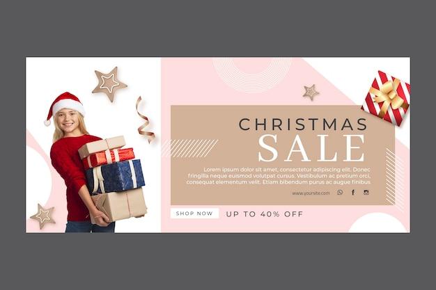 Modelo de banner de venda de natal Vetor grátis