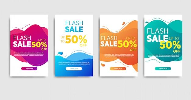 Modelo de banner de venda de ondas de gradiente líquido para mídias sociais Vetor Premium