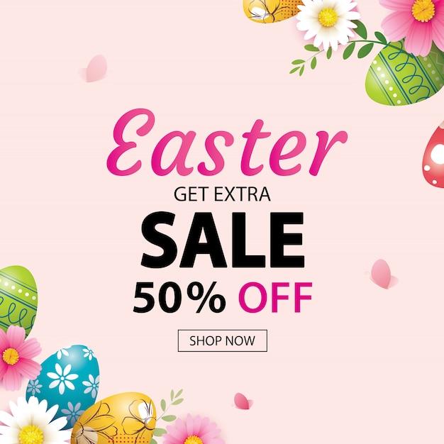 Modelo de banner de venda de páscoa com ovos coloridos. Vetor Premium