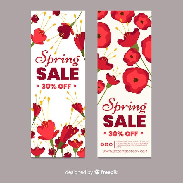 Modelo de banner de venda de primavera floral Vetor grátis