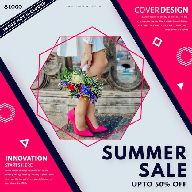 Modelo de banner de venda de verão. até 50% de desconto. Vetor Premium