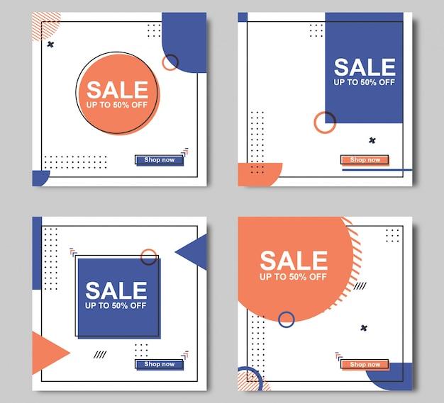Modelo de banner de venda editável Vetor Premium