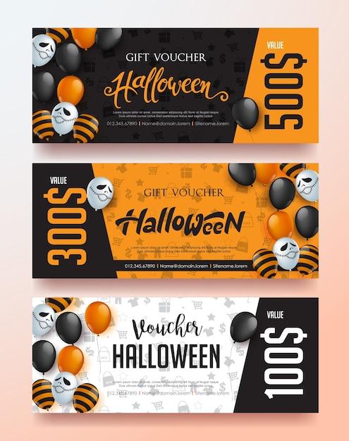 Modelo de banner de venda feliz dia das bruxas com desenho de balões. Vetor Premium