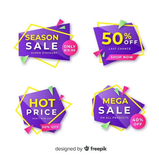 Modelo de banner de venda geométrica roxa Vetor grátis