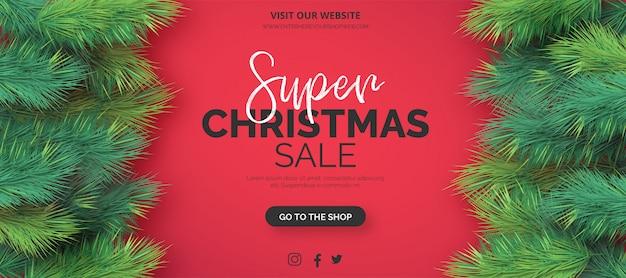 Modelo de banner de venda realista de natal Vetor grátis