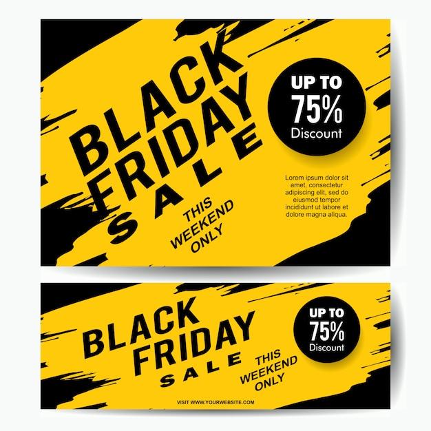 Modelo de banner de venda sexta-feira negra com respingo de tinta amarela Vetor Premium